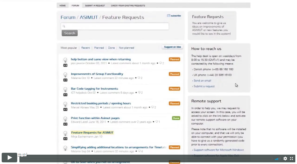 Video intro to the ASIMUT user forum