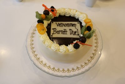 ASIMUT welcome cake for the Barratt Due Institute