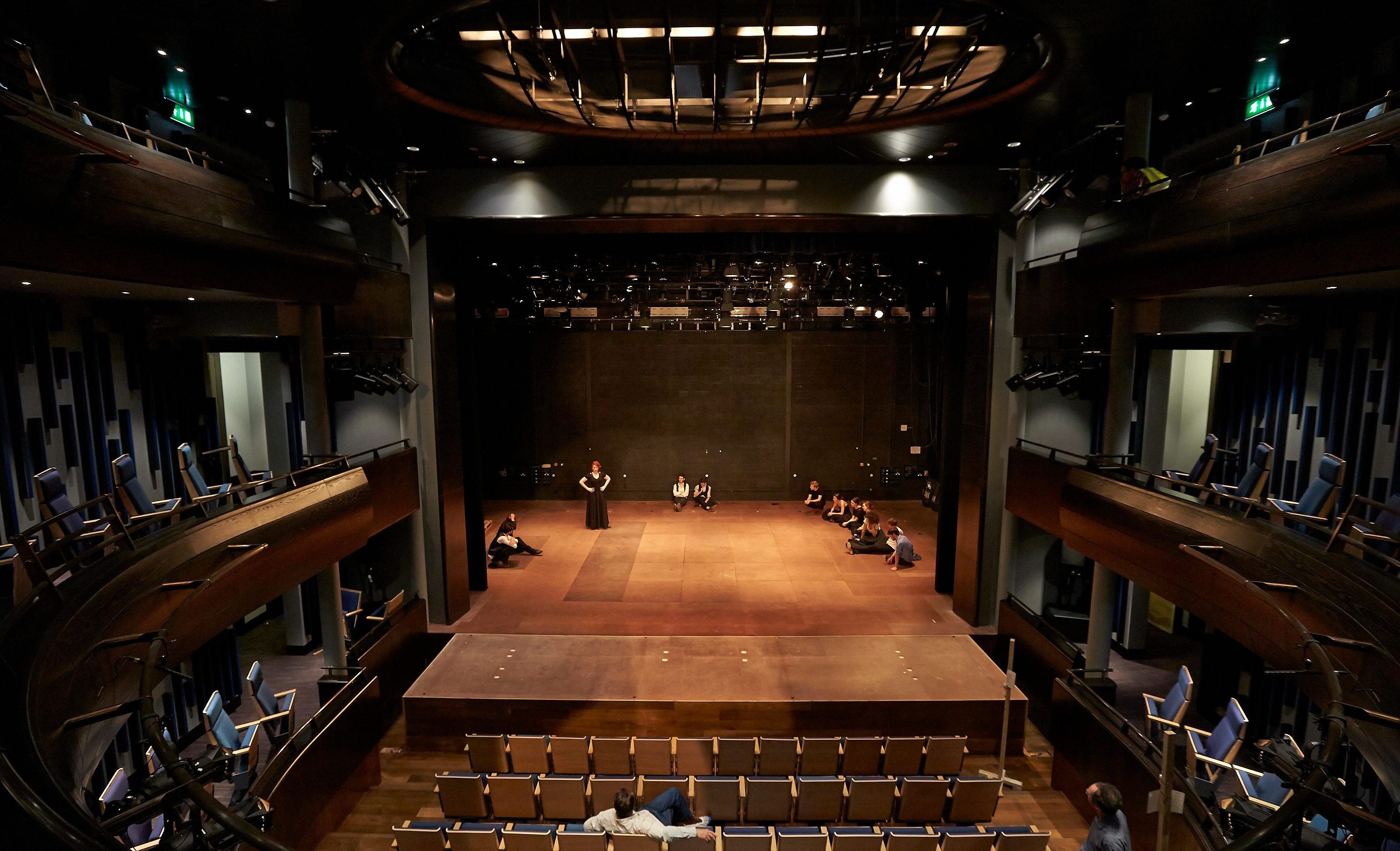 Guildhall actors rehearsing in Milton Court Theatre
